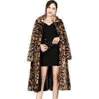 Sexy Womens Leopard Long Jacket Faux Fur Winter Warm Ladies Coat Outwear