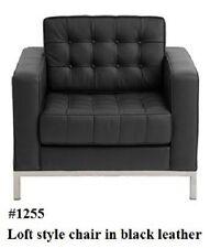 2PC button Loft Leather Sofa  & Chair set #1255 in black/white