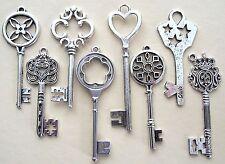 8 Large Skeleton Mixed Tibetan Silver Key Charms 60-85mm Wedding Santa (TSC05)
