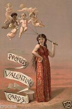 Prangs Valentine Cards Cherub Angels Cupid Balloons Ad Fine Art Print / Poster