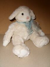 12'' GUND Plush Stuffed Bean Bag White LAMBLY Lamb Sheep w/ Blue Ribbon #36029