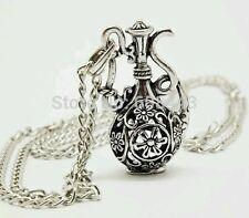 Antique Silver Hollow Bottle Flagon Pendant costume Chain Vintage Necklace