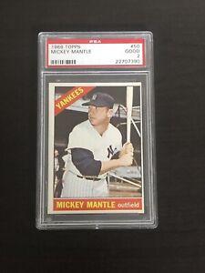 1966 Topps #50 HOF Mickey Mantle Yankees PSA 2 Good Card