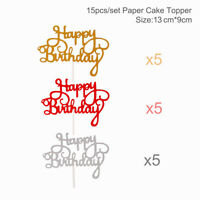 15PCS Glitter Happy Birthday Cake Topper Cupcake Dessert Paper Kids Party Decor