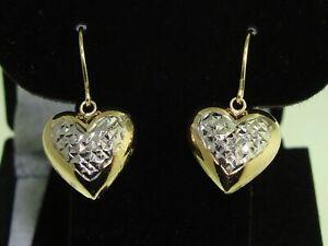 LOVELY 10K SOLID GOLD PUFFY HEART DANGLE EARRINGS!