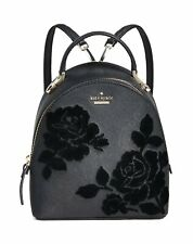Kate Spade Women's Flock Roses Binx Mini Convertible Leather Black Backpack