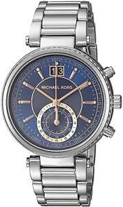 Michael Kors Sawyer Silver & Rose Trim Blue Dial Chrono Women's Watch MK6224