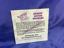 Indianapolis Indy 500 1996 DRIVERS MEETING Ticket DODGE VIPER PACECAR