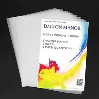 DALTON MANOR HEAVY WEIGHT 180GM PREMIUM TRACING PAPER IN SRA2/A3/A4/A5 SIZES