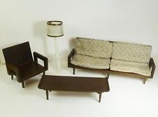1958 Mattel Modern Doll Furniture Couch Chair Lampshade Cushions Coffee Table