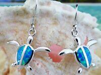 STERLING SILVER BLUE OPAL SEA TURTLE WIRE EARRINGS