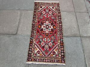 Vintage Traditional Hand Made Oriental Red Wool Short Runner 133x66cm