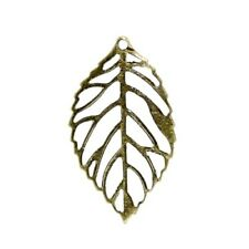 Packet 20 x Steampunk Antique Bronze Tibetan 24mm Leaf Charm/Pendant ZX06205