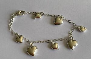 Vintage 925 Silver Dangle Heart Belcher Link Charm Bracelet 7 Inch 5.2 Gram