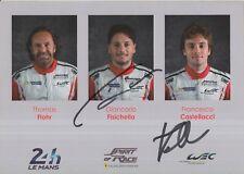 Fisichella, Castellacci Hand Signed Ferrari 2018 Le Mans Promo Card.
