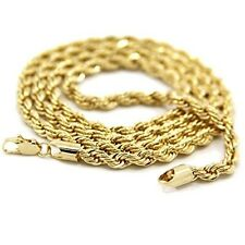 Mens 18K Yellow Gold Plated 24in Rope Chain Necklace 4 MM