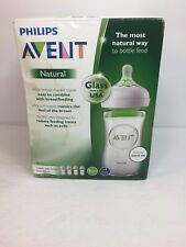 Philips Avent Natural Glass Baby Bottle 8oz, 4 bottles.. BOX DISTRESSED