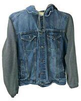 Aeropostale Womens Layered Gray Sweatshirt Hood Blue Denim Jean Trucker Jacket M