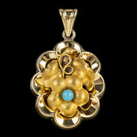 ANTIQUE VICTORIAN FORGET ME NOT PENDANT 18CT GOLD GILT SILVER CIRCA 1900