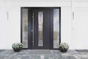 ALUMINIUM ACM07 Weiß Haustür ALU Haustüren Seitenteil Briefkasten Tür