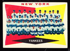 1960 TOPPS #332 N.Y. YANKEES TEAM CARD MANTLE/BERRA/FORD/STENGEL UNMARKED