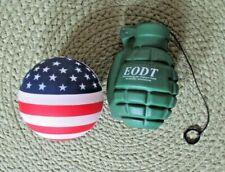 2 Stress Balls Green Grenade(EDOT) USA Round Ball(Lenel) Stars Stripes