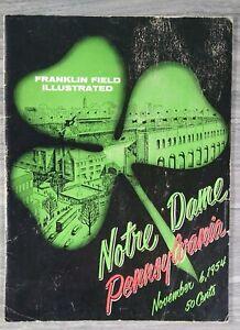 1954 NOVEMBER 6 NOTRE DAME / PENN FOOTBALL PROGRAM - FRANKLIN FIELD ILLUSTRATED