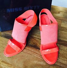 Miss Sixty Leather/rubber Sandals, Size 9