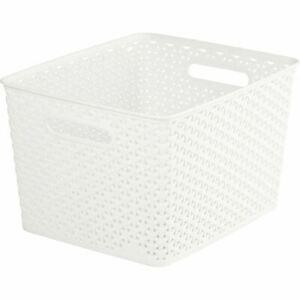 4 Pack Cream Nestable Rattan Basket Large Storage Plastic Wicker Tray 18L