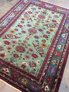 Antique Old Used Handmade Yerevan Wool Rug Carpet Shabby Chic Size:7.3 By 5.7 FT