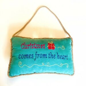 Christmas Comes From The Heart Decorative Pillow Door Hanger Velvet Embroidered