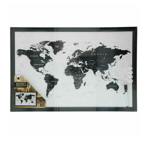 Magnetic Notice Board With World Map Dry Wipe Notice Memo Board Office Home