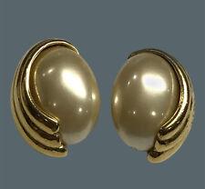 Vintage Crown Trifari Faux Pearl Rhinestone Wedding Jewelry Silver Tone Necklace Clip Earring Set