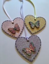 3 X Butterfly Spring Hanging Decorations Handmade Handpainted Real Wood