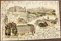 AK Gruss aus Gotha Hotel Wünscher Hoftheater Margarethenkirche gel. 1899