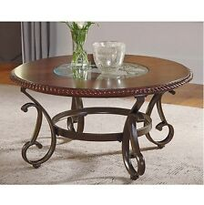 Round Coffee Table Cocktail Brown Wood Metal Scroll Living Room Furniture Accent