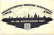 Hannover, Philatelisten-Woche 1922, 50 Pf Ganzsache