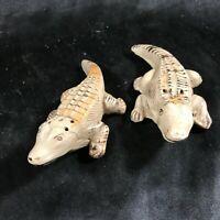 Vintage Ceramic Crocodile Salt Pepper Shakers