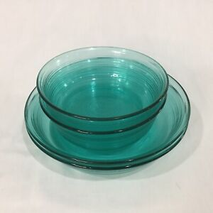Arcoroc France Jardiniere Teal Glass Bowls 2 Cereal 2 Coupe