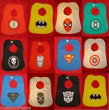 12 X SUPERHERO BABY BABIES FEEDING BIBS BURP CLOTHS CHRISTMAS PRESENT FUN GIFT