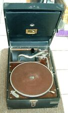 WORKING  HMV  His Masters Voice Wind Up Portable Gramophone