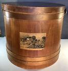 Large Vintage Currier   Ives Wooden Firkin Sugar Bucket w lid   Swing Handle 14