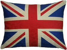"EVANS LICHFIELD UNION JACK CHENILLE FLAG MADE IN THE UK CUSHION COVER 17""X13"""