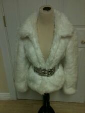 Small White BEAUTIFUL Faux Fur Coat WITH A SILVER BELT  (WET SEAL)