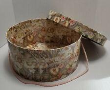 Vintage Tri-Coastal Cupid's Grammar of Love Roses Round Hat Box With Cord Handle
