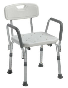 Drive Medical Bath Bench With Back And Padded Arms Bathroom Safety Shower Chair