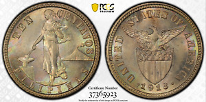 1918-S US/Philippines 10 Centavos ~ PCGS MS64 TONED ~ 75% Silver ~ A#8.13 ~ RH40