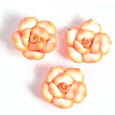 30pcs New Wholesale Orange Rose Flower FIMO Polymer Clay Spacer Charms Beads L