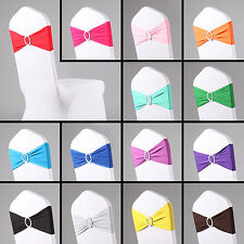 50PCS Elasticity Stretch Chair cover Band with Buckle Slider Sashes Bow Decor UK
