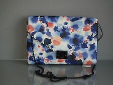 LOEFFLER RANDALL INK FLORAL LEATHER LOCK CLUTCH CROSSBODY BAG HANDBAG
